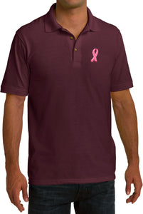 Breast Cancer Polo Embroidered Pink Ribbon Pocket Print