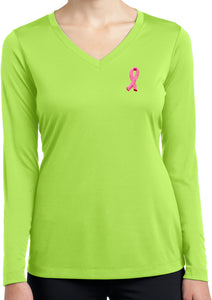 Breast Cancer Embroidered Ribbon Ladies Dry Wicking Long Sleeve
