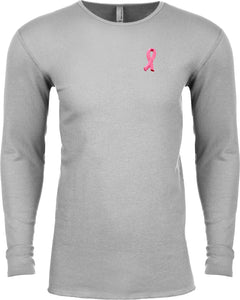 Breast Cancer T-shirt Embroidered Pink Ribbon Pocket Thermal