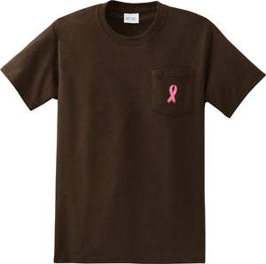 Breast Cancer T-shirt Embroidered Ribbon Pocket Print Pocket Tee