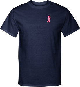Breast Cancer T-shirt Embroidered Ribbon Pocket Print Tall Tee