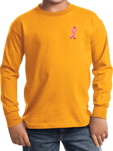 Kids Breast Cancer T-shirt Embroidered Pink Ribbon Long Sleeve