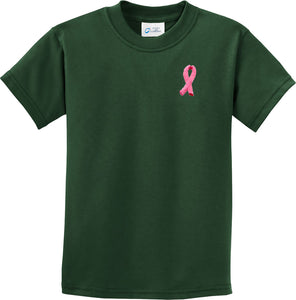 Kids Breast Cancer T-shirt Embroidered Pink Ribbon Pocket Print