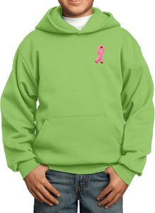 Kids Breast Cancer Hoodie Embroidered Pink Ribbon Pocket Print