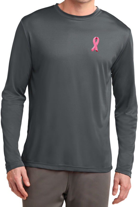 Breast Cancer T-shirt Embroidered Ribbon Dry Wicking Long Sleeve