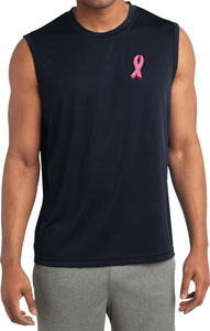 Breast Cancer T-shirt Embroidered Pink Ribbon Sleeveless Tee