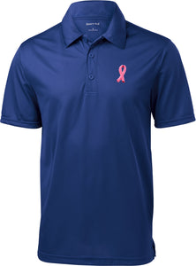 Breast Cancer Textured Polo Embroidered Pink Ribbon Pocket Print