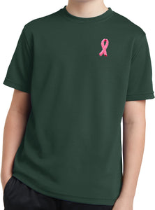Kids Breast Cancer Tee Embroidered Pink Ribbon Dry Wicking Shirt