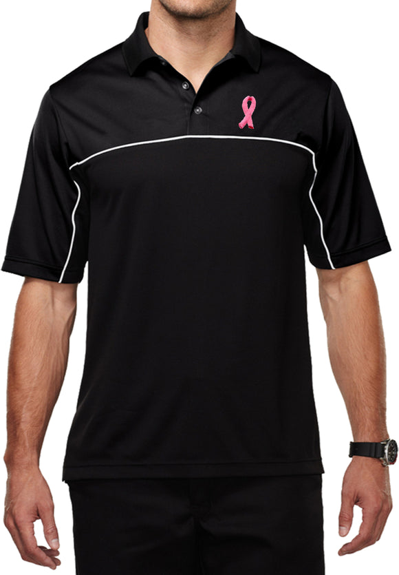 Breast Cancer Dry Wicking Polo Embroidered Pink Ribbon