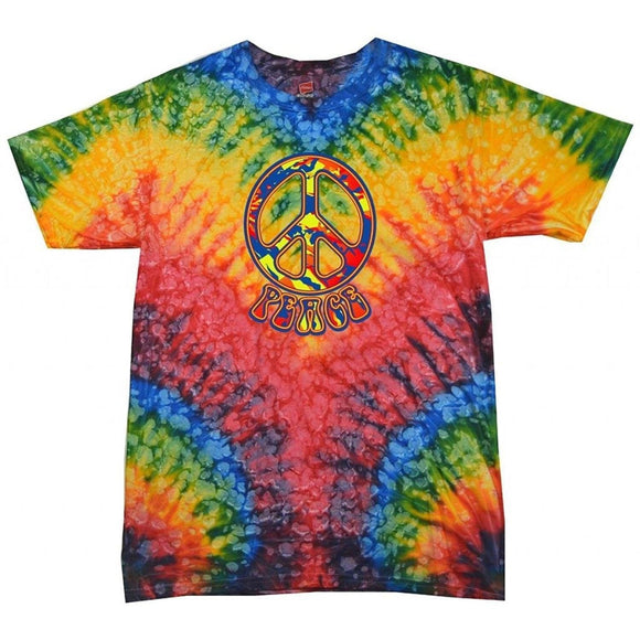 Yoga Clothing for You Funky Peace Tie Dye Woodstock T-Shirt - Yoga Clothing for You
