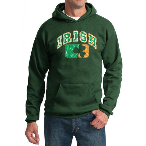 Yoga Clothing for You Mens St Patricks Day Distressed Irish Shamrock Hoodie - Dark Green - Yoga Clothing for You