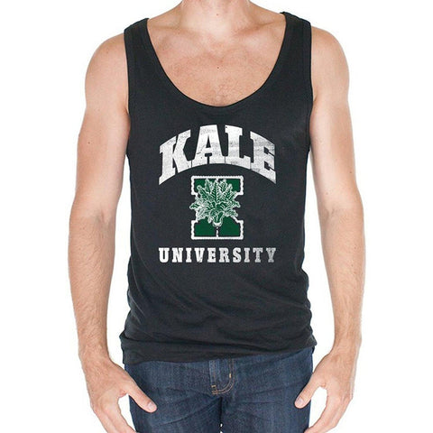Yoga Clothing for You Men's Kale University Bamboo Tank Top - Black - Yoga Clothing for You