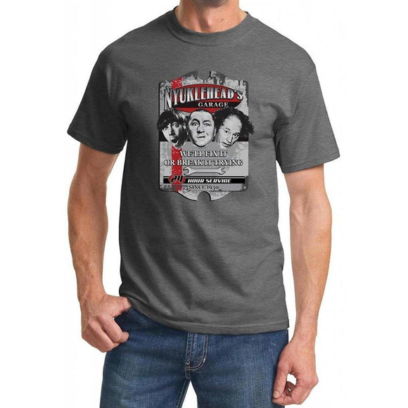 Yoga Clothing for You Mens Three Stooges Nyuklehead's Garage Shirt - Charcoal - Yoga Clothing for You