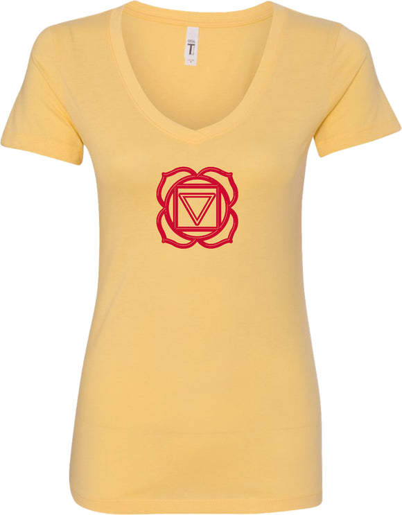 Muladhara Chakra Ideal V-neck Yoga Tee Shirt