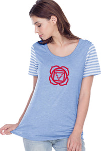 Yoga Clothing For You Muladhara Chakra Striped Multi-Contrast Yoga Tee Shirt