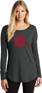 Muladhara Chakra Triblend Long Sleeve Tunic Yoga Shirt