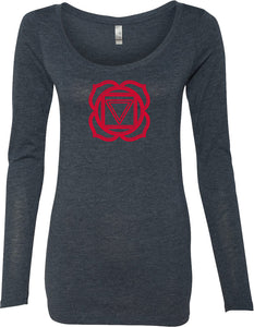 Muladhara Chakra Triblend Long Sleeve Yoga Tee Shirt