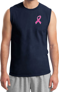 Breast Cancer T-shirt Pink Ribbon Pocket Print Muscle Tee