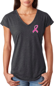 Ladies Breast Cancer Tee Pink Ribbon Pocket Print Triblend Vneck
