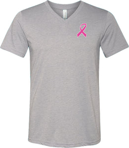 Breast Cancer T-shirt Pink Ribbon Pocket Print Tri Blend V-Neck