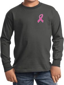 Kids Breast Cancer T-shirt Pink Ribbon Pocket Print Long Sleeve