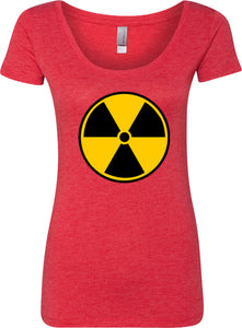 Ladies Radiation T-shirt Radioactive Fallout Symbol Scoop Neck