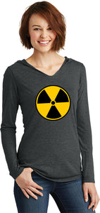 Ladies Radiation T-shirt Radioactive Fallout Symbol Tri Hoodie