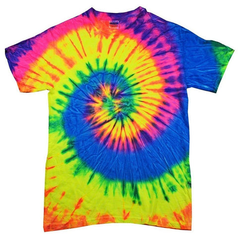 Yoga Clothing for You 100% Cotton Colorful Tie Dye Vibrant Shirt - Neon Rainbow