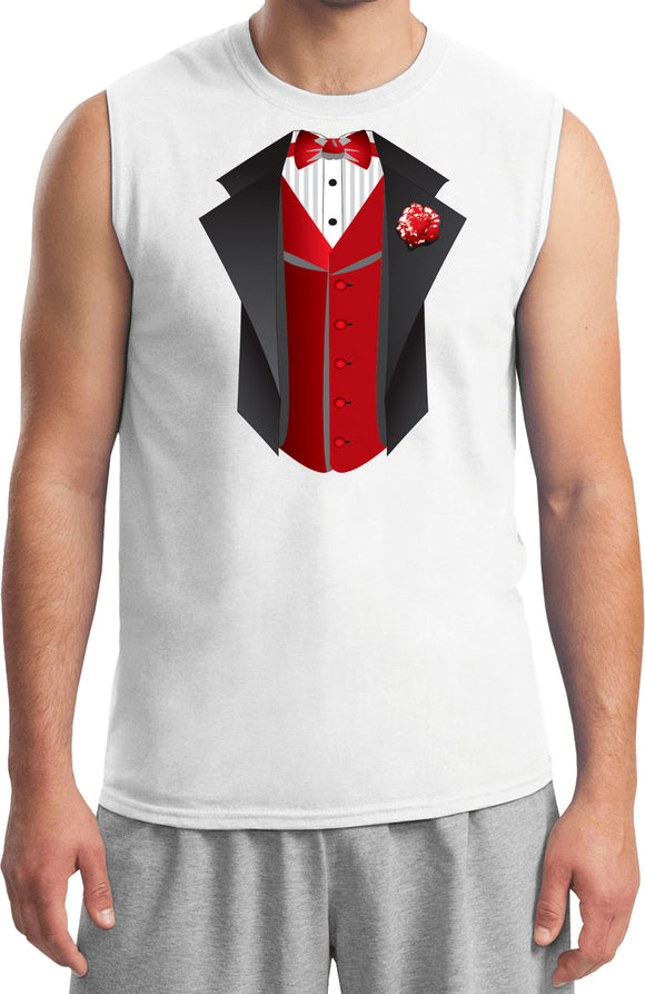 Tuxedo T-shirt Red Vest Muscle Tee