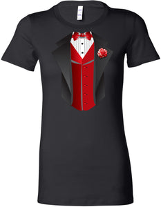 Ladies Tuxedo T-shirt Red Vest Longer Length Tee