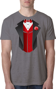 Tuxedo T-shirt Red Vest Burnout Tee