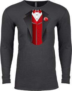 Tuxedo T-shirt Red Vest Long Sleeve Thermal