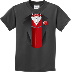 Kids Tuxedo T-shirt Red Vest Youth Tee