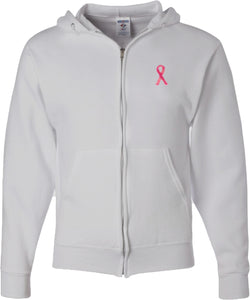 Breast Cancer Full Zip Hoodie Sequins Ribbon Pocket Print