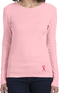 Ladies Breast Cancer Tee Sequins Ribbon Bottom Print Long Sleeve