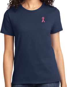 Ladies Breast Cancer T-shirt Sequins Ribbon Pocket Print Tee