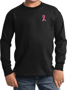 Kids Breast Cancer Sequins Ribbon Pocket Print Youth Long Sleeve