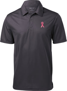 Breast Cancer T-shirt Sequins Ribbon Pocket Print Textured Polo