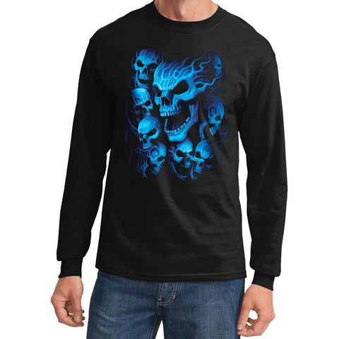 Yoga Clothing for You Mens Flaming Blue Skulls Biker Long Sleeve Tee Shirt - Black - Yoga Clothing for You