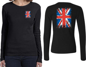 Ladies Union Jack Long Sleeve Shirt Front and Back