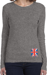 Ladies Union Jack Long Sleeve Shirt Bottom Print