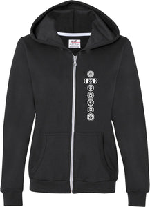 White 7 Chakras Full-Zip Hooded Yoga Sweatshirt