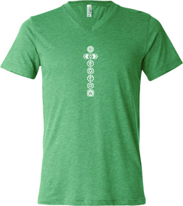 White 7 Chakras Lightweight Triblend V-neck Yoga Tee Shirt
