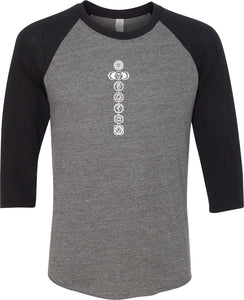 White 7 Chakras Eco Raglan 3/4 Sleeve Yoga Tee Shirt