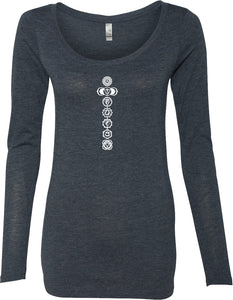 White 7 Chakras Triblend Long Sleeve Yoga Tee Shirt
