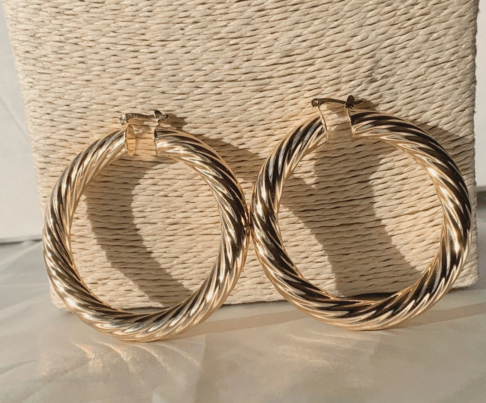 Twisted Gold Hoops - Love Be Jewels