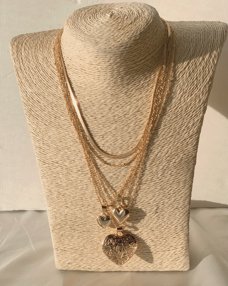 Multi Heart Layered Necklace - Love Be Jewels
