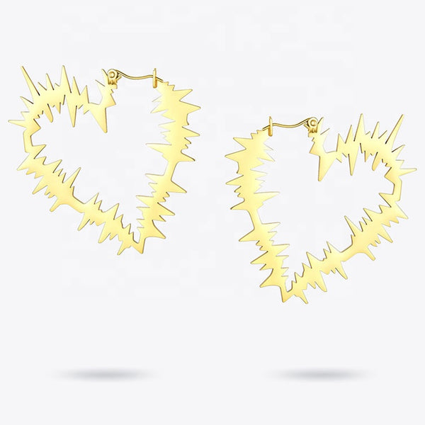 Heart Wave Hoops - Love Be Jewels