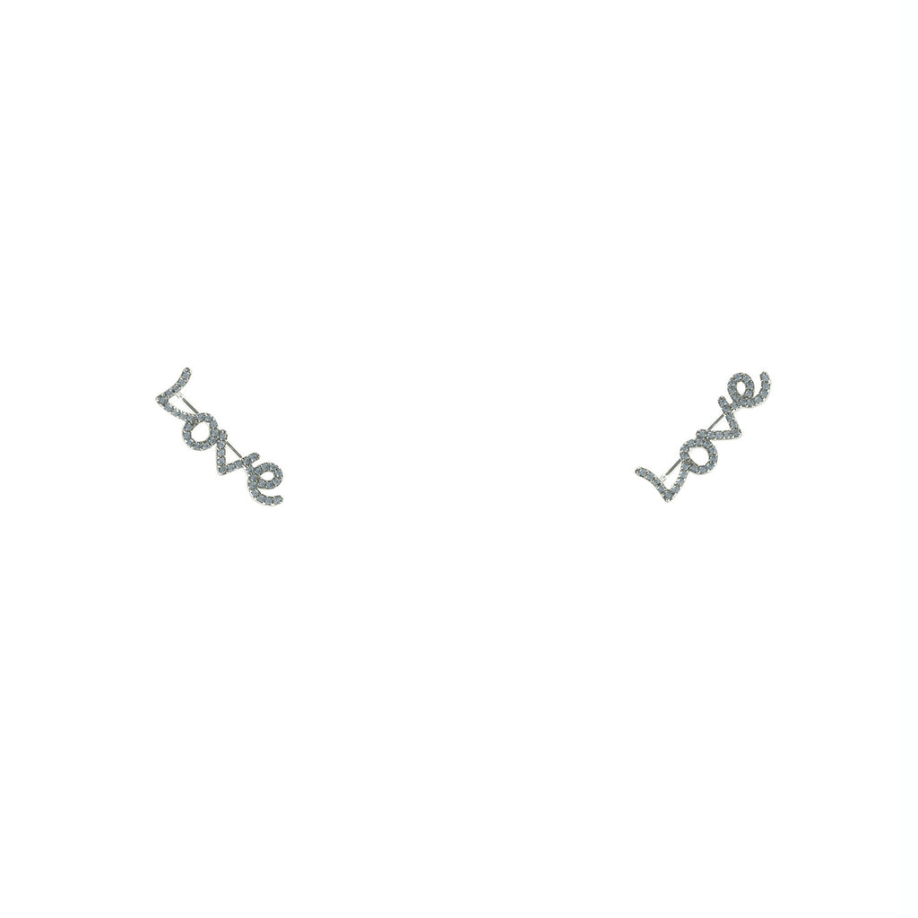 Silver Love Ear climber earrings - Love Be Jewels
