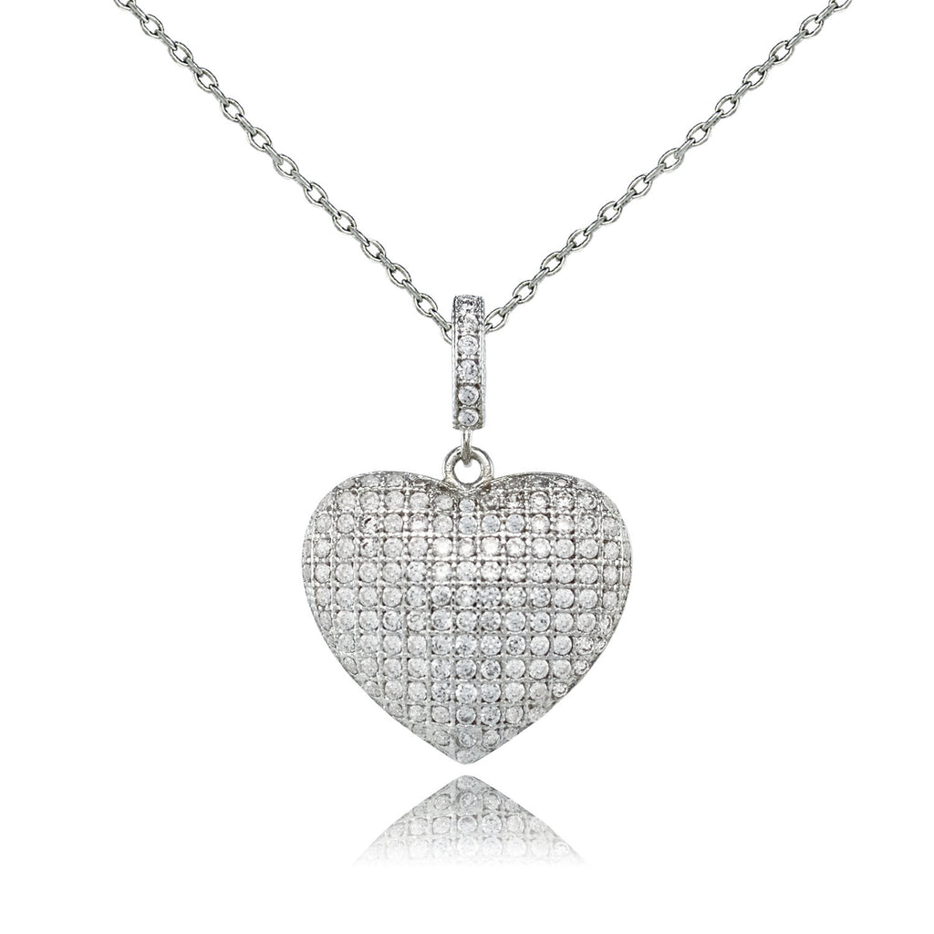 Pave Crystal Heart Necklace - Love Be Jewels